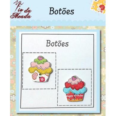 Botões de Madeira Cupcake - 18
