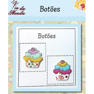Botões de Madeira Cupcake - 20